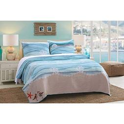 AD 3 Piece Blue Nautical Full Queen Quilt Set, White Sand Na