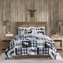4 Piece Blue Plaid King\Cal King Quilt Set, White Cabin Lodg