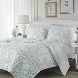 Laura Ashley Blue Reversible Quilt Set, King, Floral, Mia
