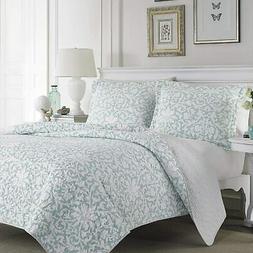 Laura Ashley Blue Reversible Quilt Set, Full/Queen, Floral,