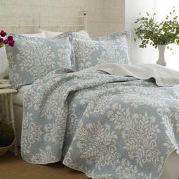 Laura Ashley Blue/White Floral Cotton Reversible Quilt,Bedsp