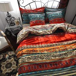 HNNSI Brushed Cotton Bohemian Duvet Cover and Fitted Sheet S