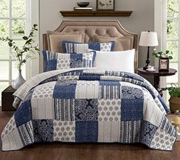 DaDa Bedding Patchwork Bedspread Set - Denim Blue Elegance C