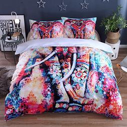 JOXJOZ 3 Piece Bohemian Elephant Mandala Pattern Bedding Pri