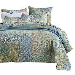 NEWLAKE Bohemian Floral Pattern Bedspread Quilt Set with Rea