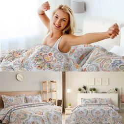 Bohemian Paisley Pattern Quilt Coverlet set Quilted Bedsprea