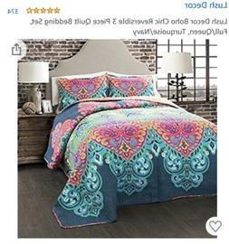 Lush Decor 3 Piece Boho Chic Quilt Set, King, Turquoise/Navy