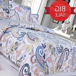 Brandream Duvet Cover Sets 100% Egyptian Cotton Damask Paisl