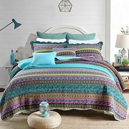 mixinni 100% Cotton 3 Piece Striped Boho Style Bedspread Qui