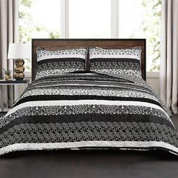 Lush Decor Boho Stripe 3 Piece Quilt Set, Full/Queen, Black