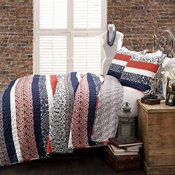 Lush Decor Boho Stripe 3 Piece Quilt Set, Full/Queen, Navy a