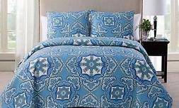 VCNY Home Bradshaw 3 Piece Reversible Bedding Quilt Set, Ful