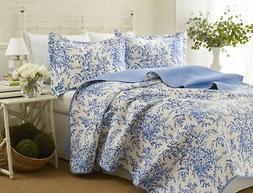 Brand New Laura Ashley Bedford Cotton Reversible Quilt Set,
