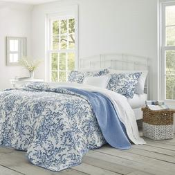 Brand New Laura Ashley Bedford Cotton Reversible Quilt Set,