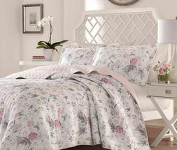 LAURA ASHLEY Breezy Floral Pink & Grey Cotton Full/Queen Qui