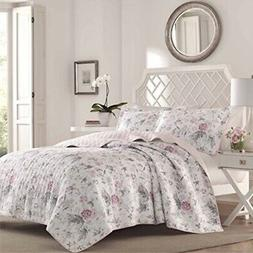 Laura Ashley Breezy Floral Pink Quilt Set, King, Pink/Gray