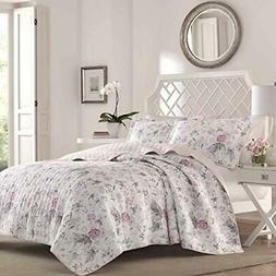 Laura Ashley Breezy Floral Pink Quilt Set Full/Queen Gray