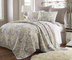 Levtex Brianna Taupe King Cotton Quilt Set