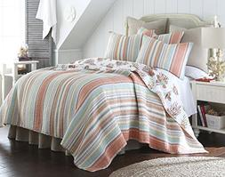 Levtex Brighton Coral Full/Queen Cotton Quilt Set Stripe Coa