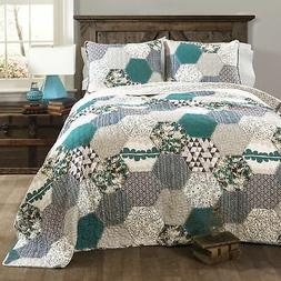 Lush Decor Briley 3pc Quilt Set Turquoise Full/Queen, New