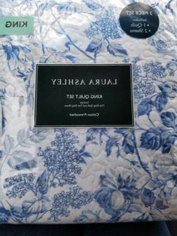 Laura Ashley Brompton KING 3p QUILT SET Blue White Floral Re