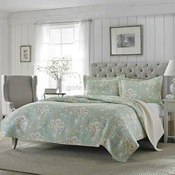 Laura Ashley Brompton Serene Reversible Quilt Set, Full/Quee