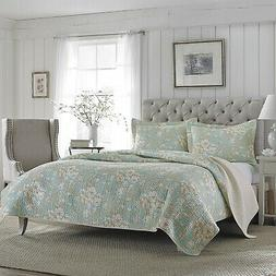Laura Ashley Brompton Serene 3-Piece Quilt Set, Cotton, Twin