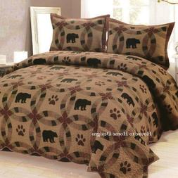 BROWN BEAR ** King ** QUILT SET : LODGE CABIN TEA DYED RED P