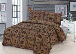 BROWN BEAR Full Queen QUILT SET : LODGE CABIN TEA DYED RED P