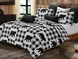 Virah Bella Buffalo Black Checks Bear 3pc Full/Queen Quilt S