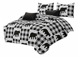 Virah Bella Buffalo Plaid Rustic Black Bear Quilt & Sham Set