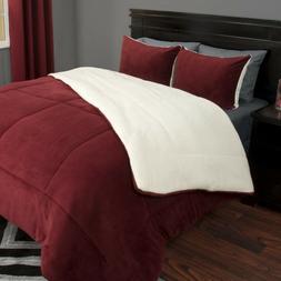Lavish Home 3 Piece Sherpa/Fleece Comforter Set - F/Q - Burg