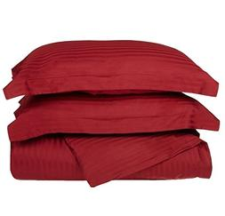 2 Piece Burgundy Rugby Stripes Duvet Cover Twin Set, Stylish