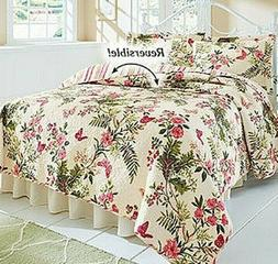 Butterflies Reversible Quilt Set Flowers Bedspread Bedding C
