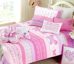 Cozy Line Home Fashions Butterfly Bedding Quilt Set, 3D Prin