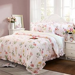 FADFAY Butterfly Duvet Covers Pink Floral Bedding Cotton Twi