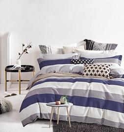 Cabana Stripe Modern Duvet Cover 100-Cotton Twill Bedding Se