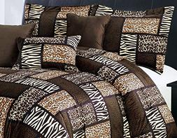 7 Piece  CAL KING Size Safari Comforter set - Leopard, Tiger