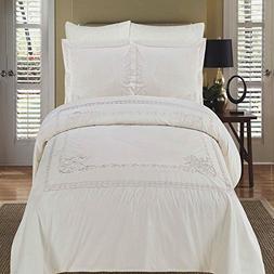 Athena white King/Calking Duvet cover set 100% Cotton Embroi