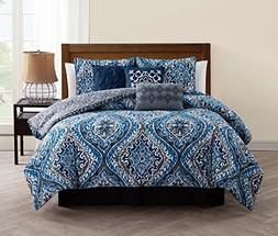 Avondale Manor Callais 7-Piece Comforter Set, King, Blue