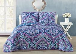 Avondale Manor Cantara 3 Piece Quilt Set, Queen, Purple