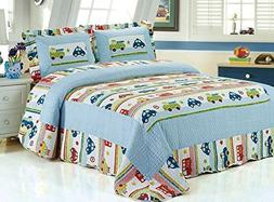 HNNSI Kids Boys Comforter Quilt Set TWIN Size 2PCS, Car and
