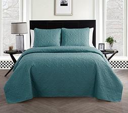 VCNY Home Caroline 3 Piece Embossed Floral Quilt Set, Twin,