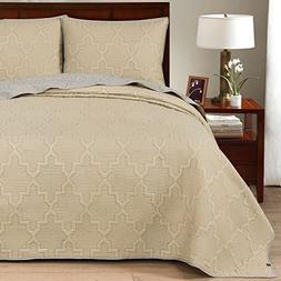 Brielle Casablanca, Reversible  Quilt Set, Twin, Grey/Linen