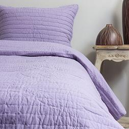 Be-You-tiful Home CC585LQ Pick Stitch Lilac Queen Quilt Set