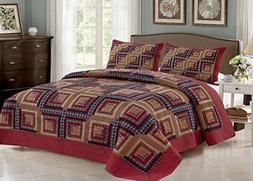 Cedar Creek Log Cabin - 3 Piece Queen Quilt Bedding Set