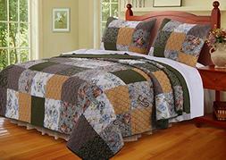 Greenland Home 2 Piece Cedar Creek Quilt Set, Twin