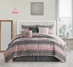 Avondale Manor Celia 7 piece Comforter Set Queen, Grey/Pink