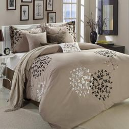 Cheila Beige, Silver, Brown 8 Piece King Comforter Bed In A