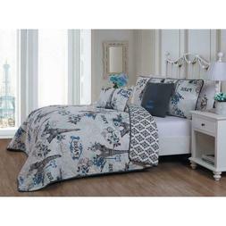 Avondale Manor Cherie 5-piece Quilt Set King Blue